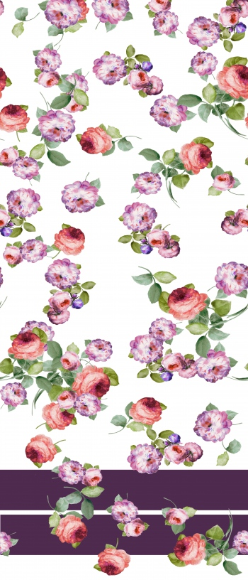 Flying romatic roses and solid border