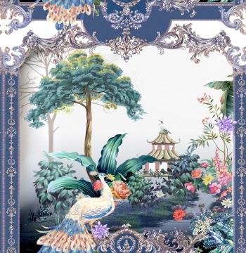 Peacock, paisley, landscape, various flowers