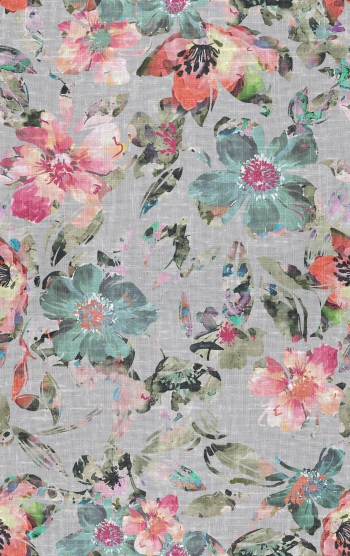 Abstract flowers with woven fabric effects