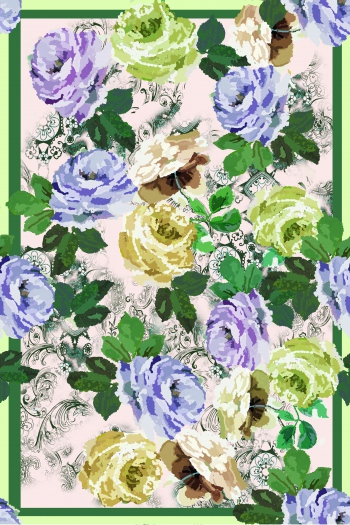 Abstract purple and green roses.