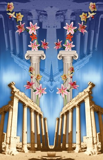 Ancient town and beautiful columns. There is also reflection of the ancient architectural elements and pink lilies