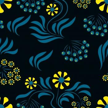 Folk flowers art pattern Floral surface design Seamless pattern