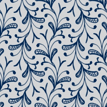 Abstract blue paisley pattern and leaves