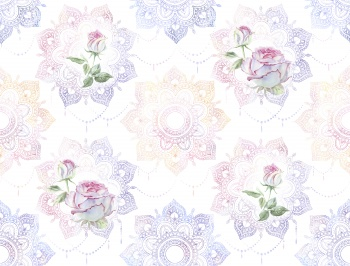 Beautiful watercolor white roses with pink petals and mandalas in a seamless pattern