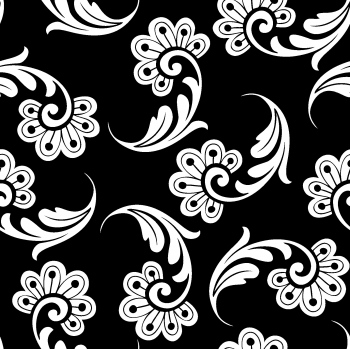 Black And White Ornate Flowers