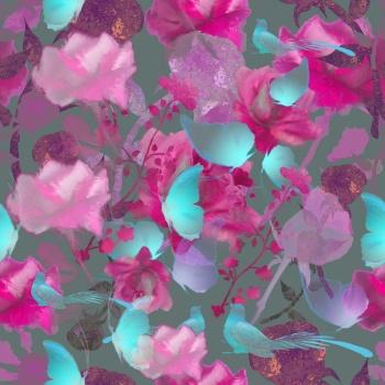 Blue Morpho,Birds,Roses