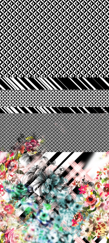 Blurred flowers with diagonal stripes and black & white motifs