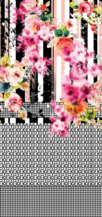 Blurred flowers with monochrome motifs and stripes