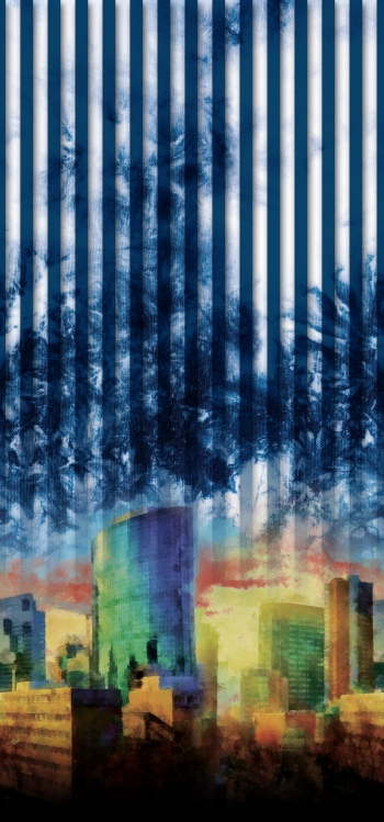 Blurred Skyscrapers and stripes