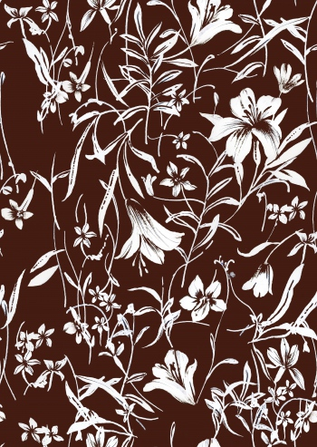Brown and white floral design