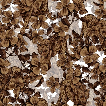 Brown Leopard and Brown Flowers