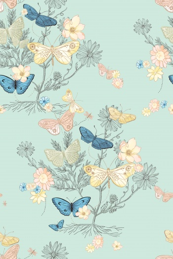 Butterflies flying over flowers