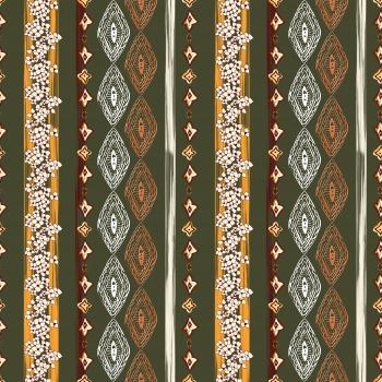 Ethnic Ornaments On Khaki
