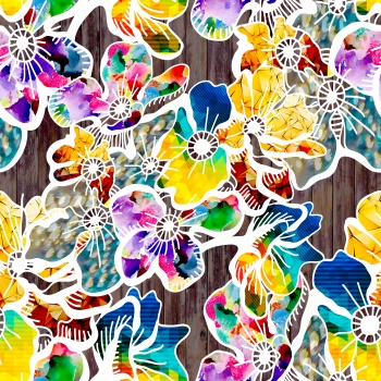 Colorful Flowers on Wood