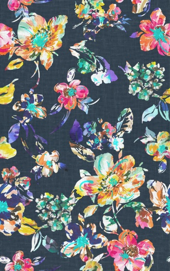 Colorful stylised flowers with woven fabric effects