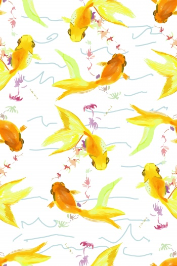 Goldfish play in the water