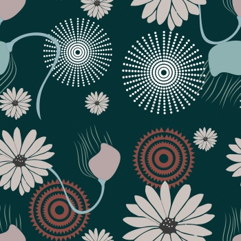 Abstract graphic flower print pattern .