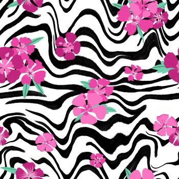zebra floral - animal print tropical - pink floral and zebra - tropical flowers