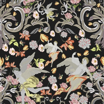 Baroque art and architecture print pattern.