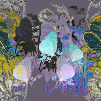 Dark pastel Butterflies,tropical Flowers