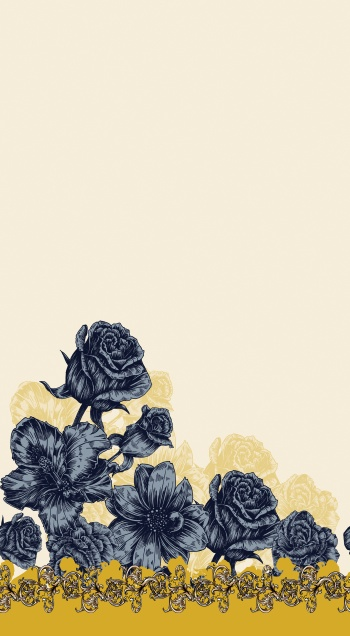 Darkblue Roses And Golden Baroque Elements