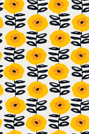 Abstract yellow flowers and dark blue leaves