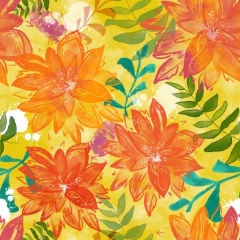 You are My Sunshine- Bright Floral Dahlias seamless pattern
