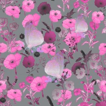 Magenta Flowers,Butterflies