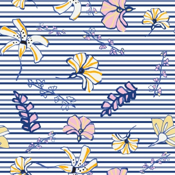 Delicate Flowers with Navy Blue Strokes.