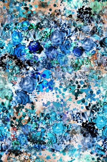 Digitally created blue floral design.