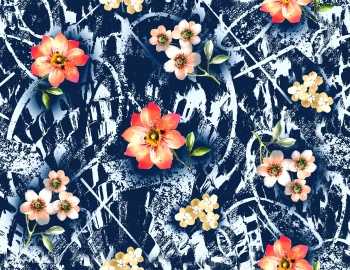 Denim blue grunge texture with watercolor Flower
