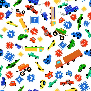 Children pattern with toy cars colorful