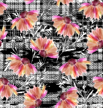 Black & white grunge texture with watercolor Flower