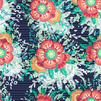 Embroidered ethnic flowers and polkadots
