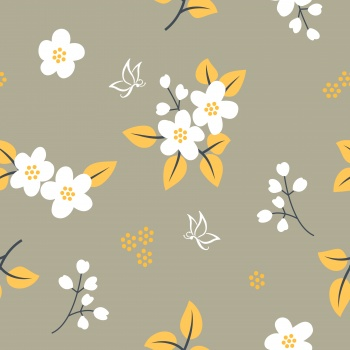 Floral pattern with white flowers