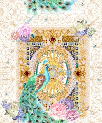 Peacock, paisley, peony, rose