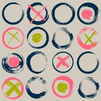 Abstract circular brush stroke design