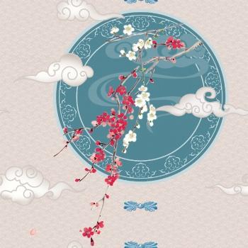 Paisley, clouds, plum blossoms