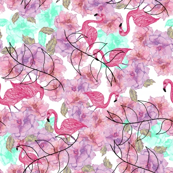 Flamingos in Pink Floral Garden