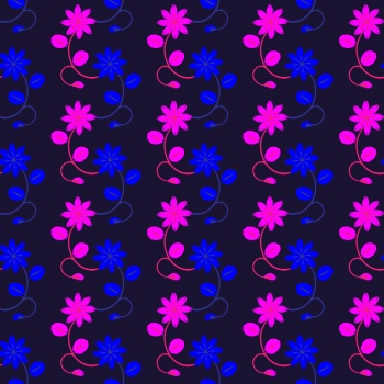 FLORAL STRIPS ON DARK BLUE