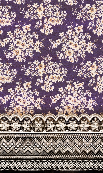 Floral Tapestry and Lace Border on Purple Background