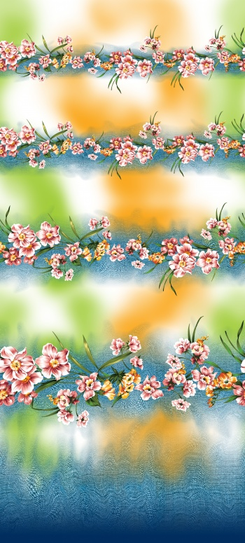 Flowers are on denim surface