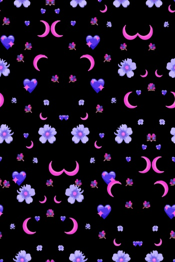 Flowers, crescent moon, abstract