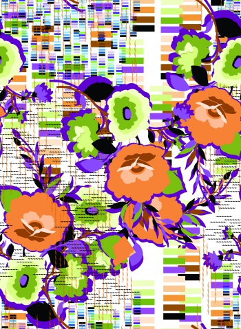 Flowers inside of the horizontal and vertical lines