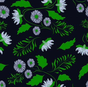 Folk floral art pattern Flowers abstract surface design Seamless pattern