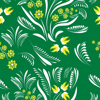Folk floral pattern. Flowers abstract surface design. Seamless pattern