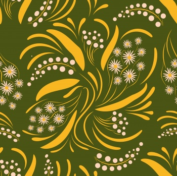Folk flowers art pattern Floral abstract surface design Seamless pattern