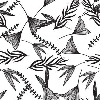 Gingo Foliage Outline Pattern