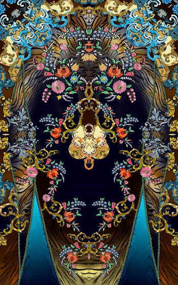 Golden damasks,floral and animal skin pattern design
