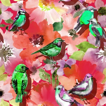 Green and Purple Birds